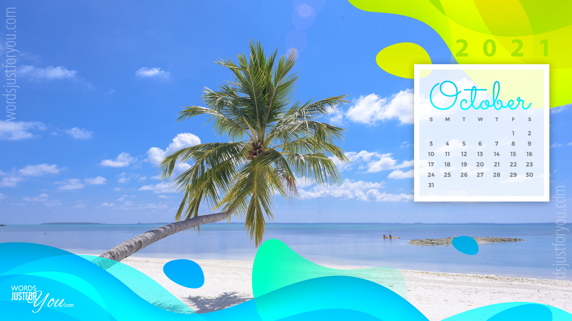 Palm Tree on Beach with October 2021 Calendar Wallpaper